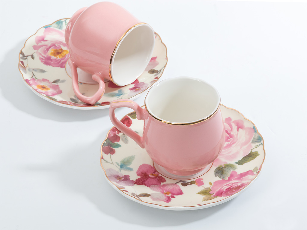 Melissa Bone China 4 Parça Kahve Fincan Takımı 90 Ml Pembe