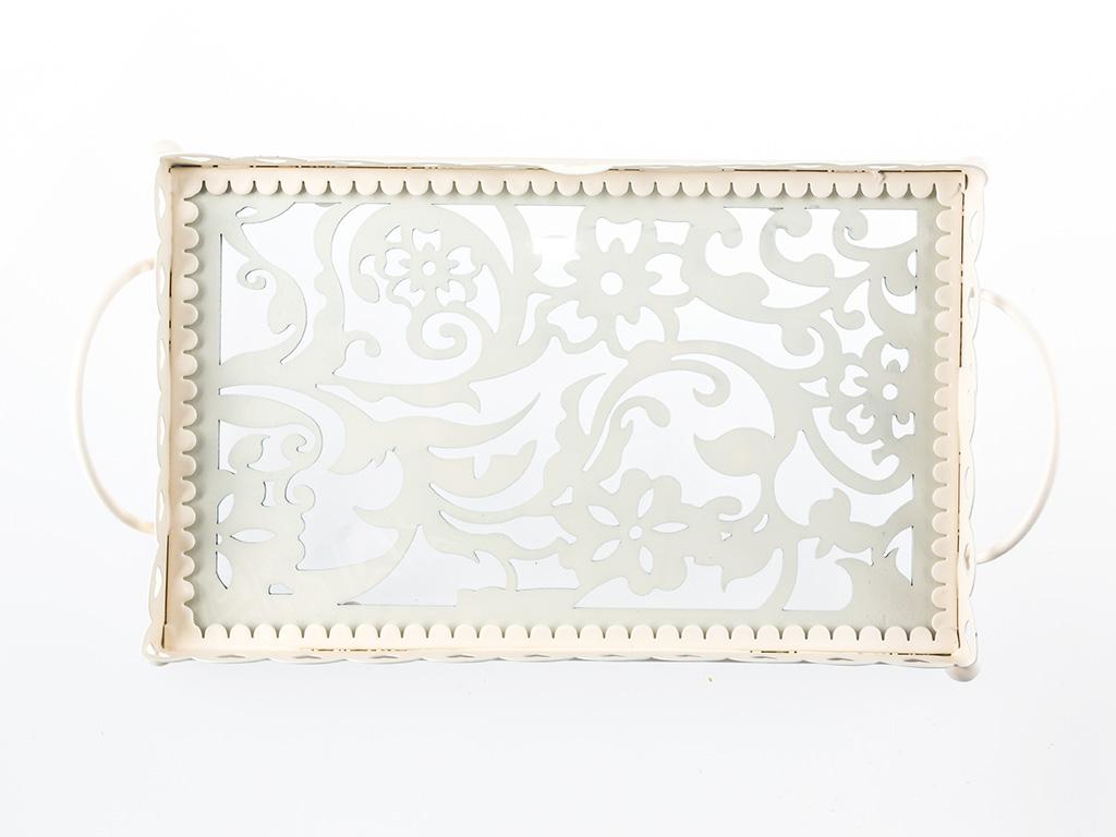 Doris Ferforje Küçük Tepsı 28,5x17,5x5,5 Cm Beyaz