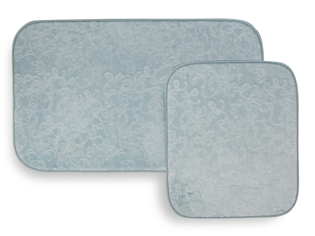 Pretty Romance Sıcak Baskı 2'li Klozet Setı 60x100 Cm + 60x50 Cm Açık Mavi