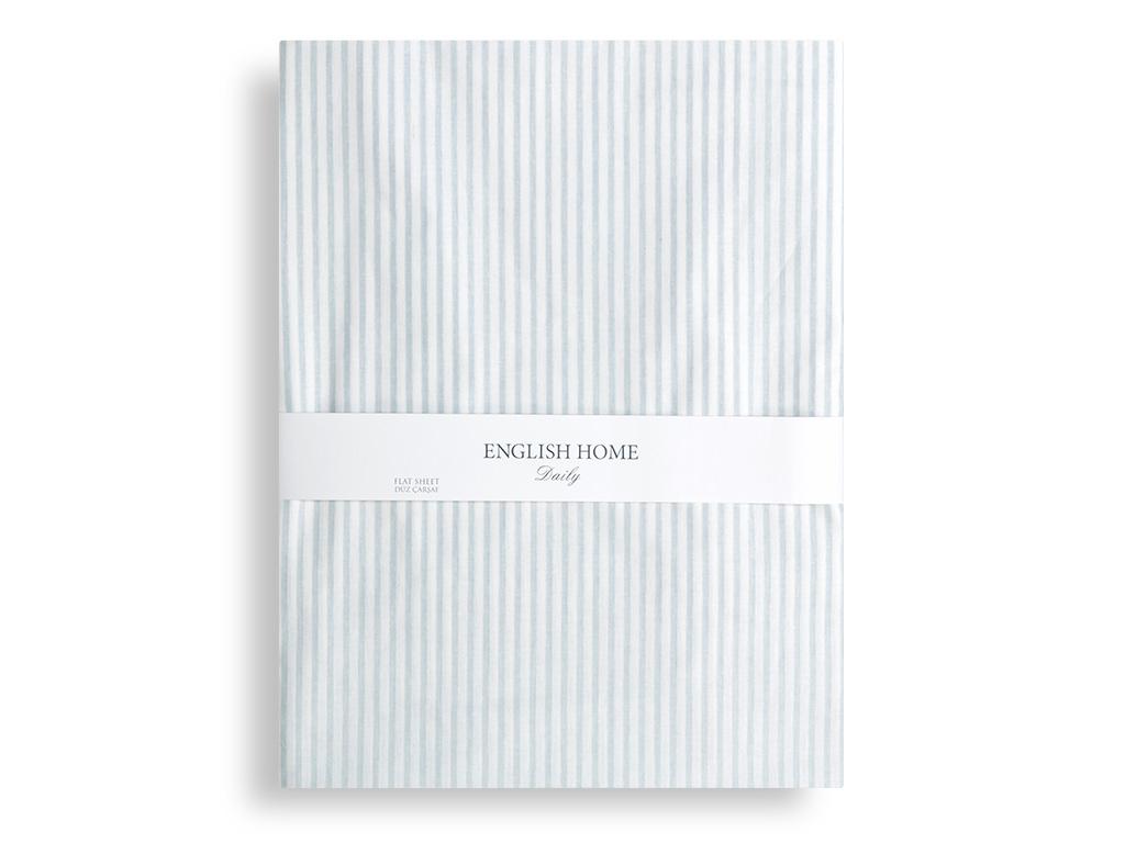 Stripe Pamuklu Çift Kişilik Çarşaf 240x260 Cm Mavi