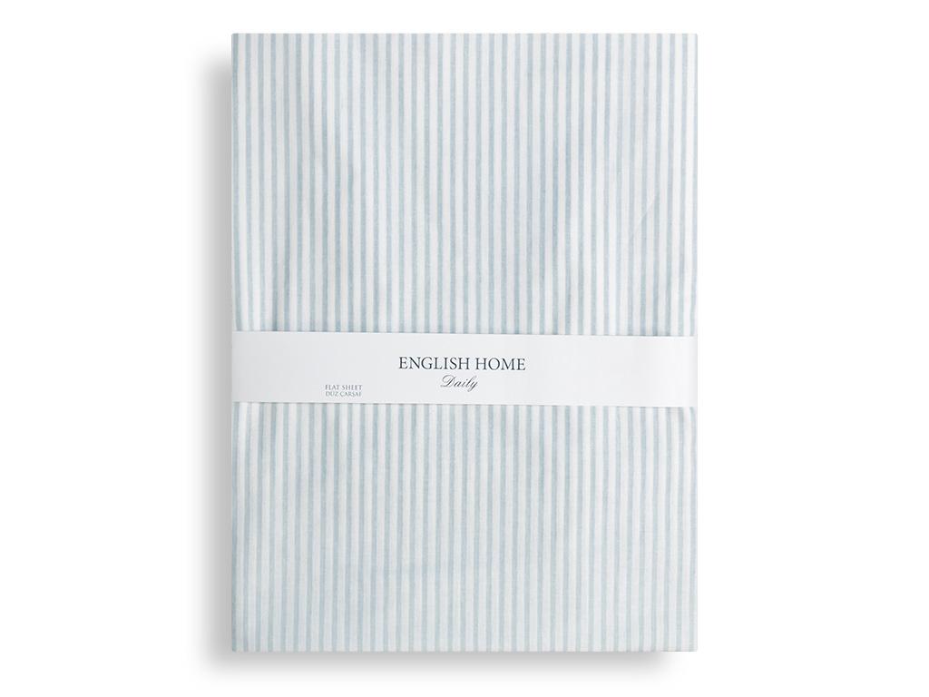 Stripe Pamuklu Tek Kişilik Çarşaf 160x240 Cm Mavi