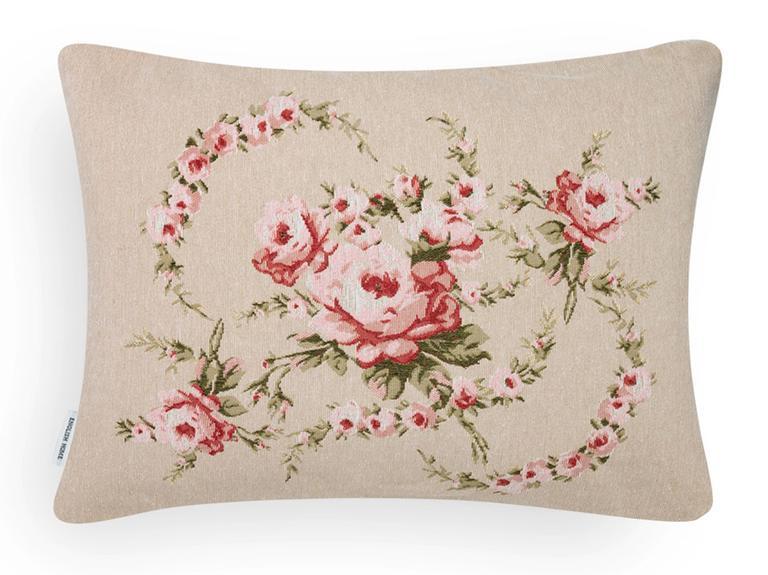 Rose Coquette Goblen Kırlent Kılıfı Yastık 35x50 Cm Pembe