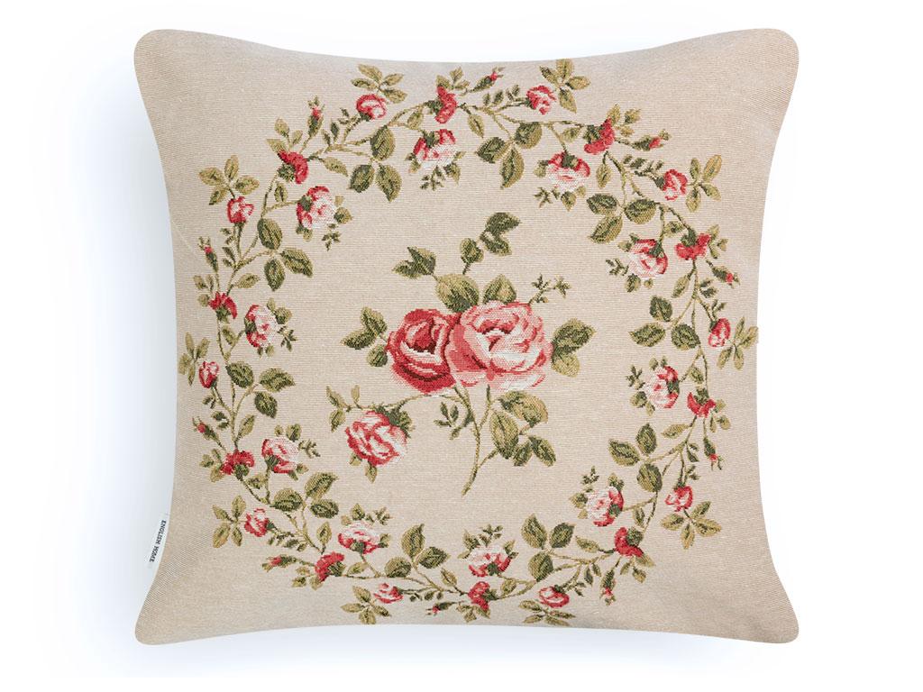 Rose Crush Goblen Kırlent Yastık 45x45 Cm Kırmızı