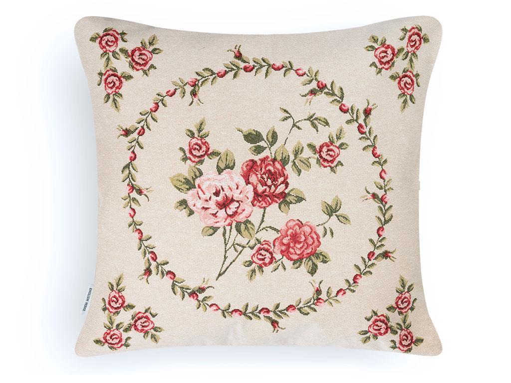 Rose Passion Goblen Kırlent Kılıfı Yastık 45x45 Cm Kırmızı