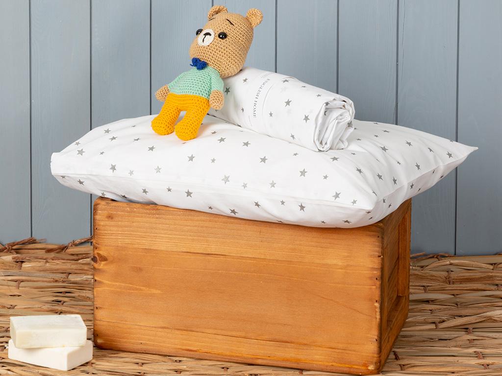 Astro Pamuklu Bebe Lastıklı Çarşaf 70x140 Cm Beyaz