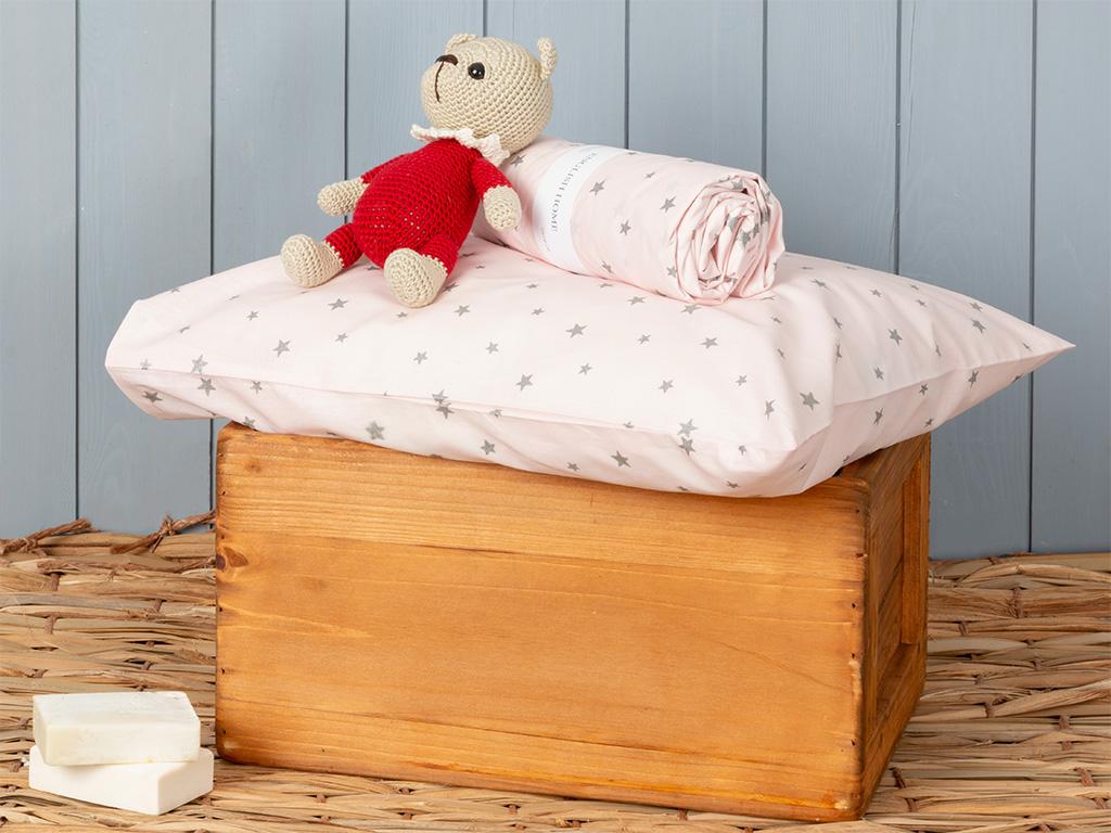 Astro Pamuklu Bebe Lastıklı Çarşaf 70x140 Cm Pembe