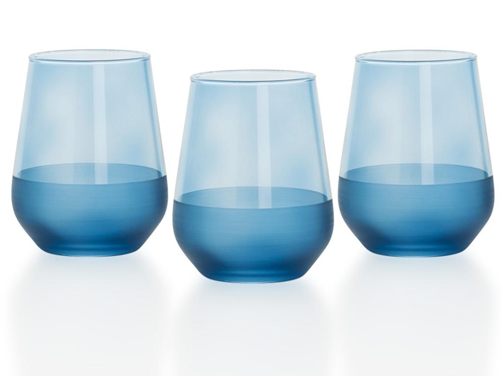 Modest Cam 3'lü Meşrubat Bardağı 425 Ml Mavi