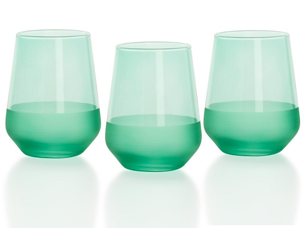 Modest Cam 3'lü Meşrubat Bardağı 425 Ml Yeşil