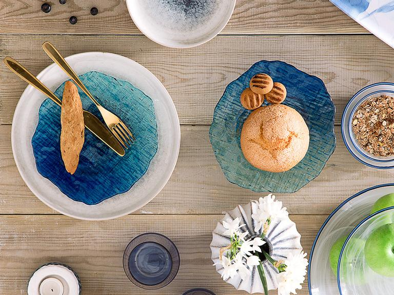 Gustav Cam Pasta Tabağı 21 Cm Mavi - Yeşil