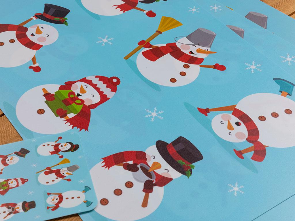 Snowman 4 Adet Amerikan Servis 43,5x28,2x0,05 Cm Mavi
