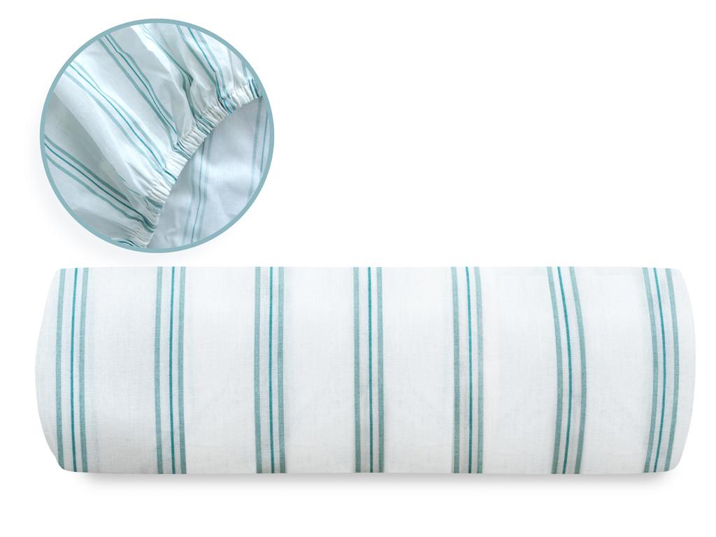 Summer Stripe Pamuklu King Size Lastikli Çarşaf 200x200 Cm Seledon