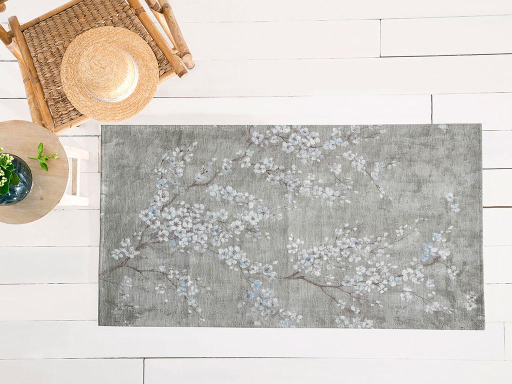 Sakura Garden Pamuk Polyester Halı 80x150 Cm Koyu Bej