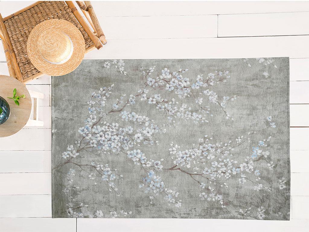 Sakura Garden Pamuk Polyester Halı 120x180 Cm Koyu Bej