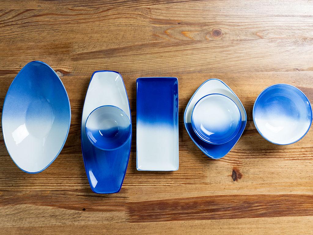 Nina Porselen Kayık Tabak 20x10 Cm Beyaz - Mavi
