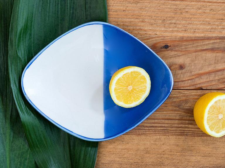 Rase Porselen Kayık Tabak 19 Cm  Beyaz - Mavi