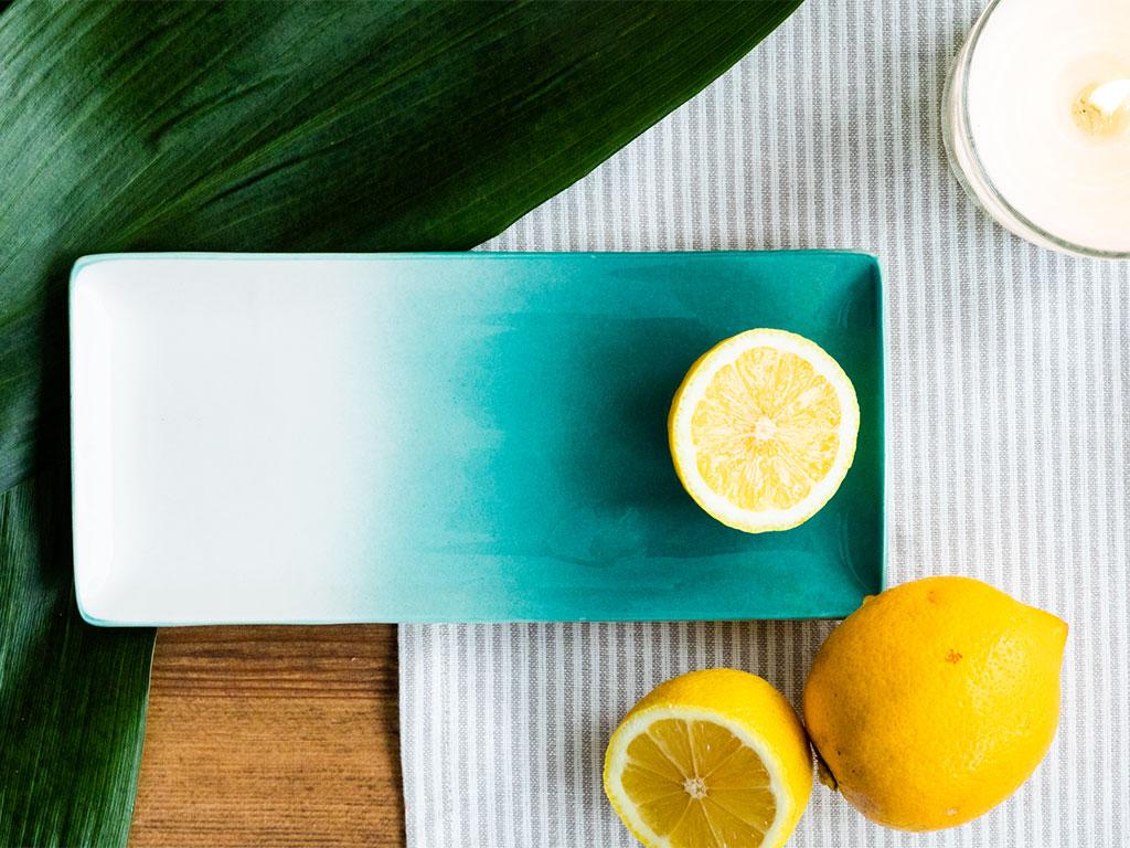 Nina Porselen Kayık Tabak 20x10 Cm Beyaz - Yeşil