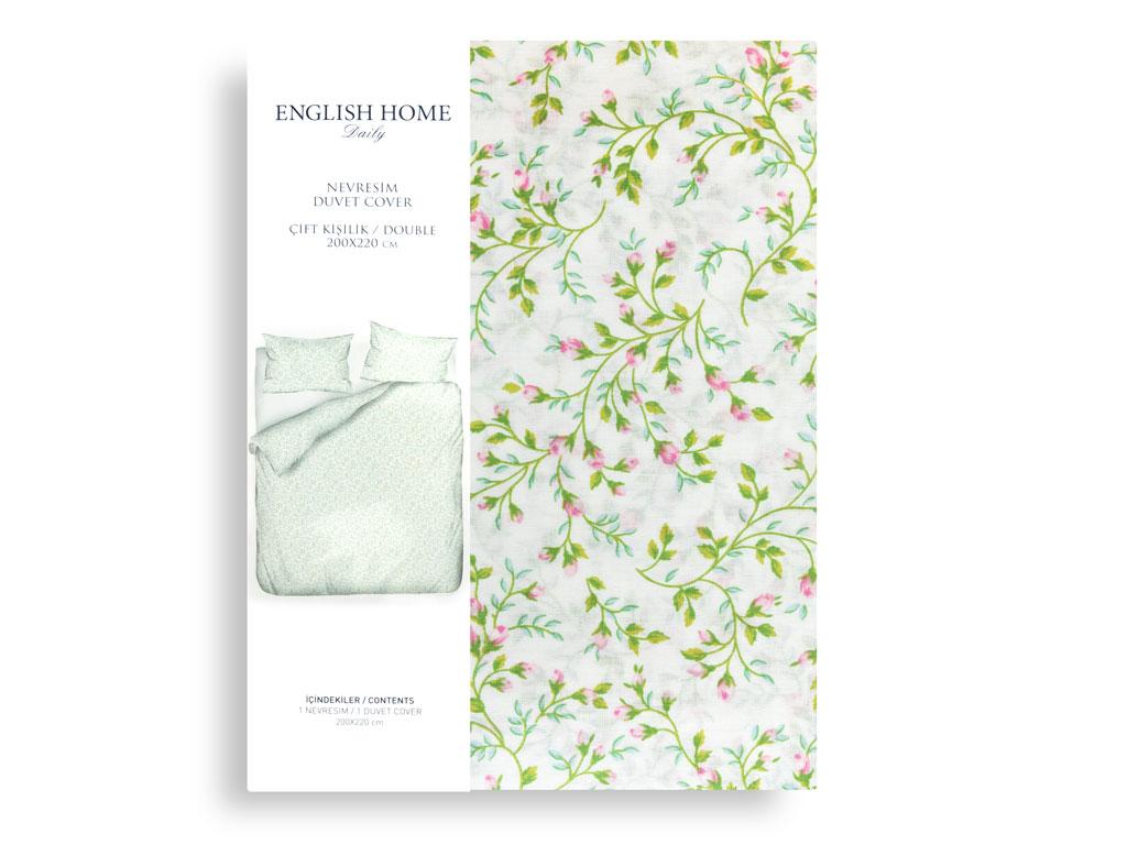 Rosebella Pamuklu Çift Kişilik Nevresım 200x220 Cm Yeşil