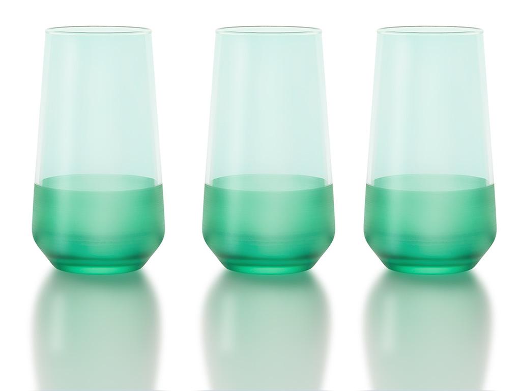 Modest Cam 3'lü Meşrubat Bardağı 470 Ml Yeşil