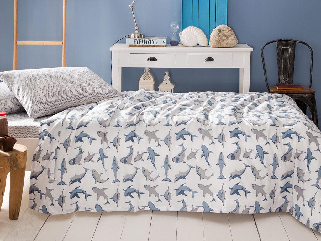 Kid Shark Baskılı Çocuk Pike Takımı 150x220 Cm Mavi