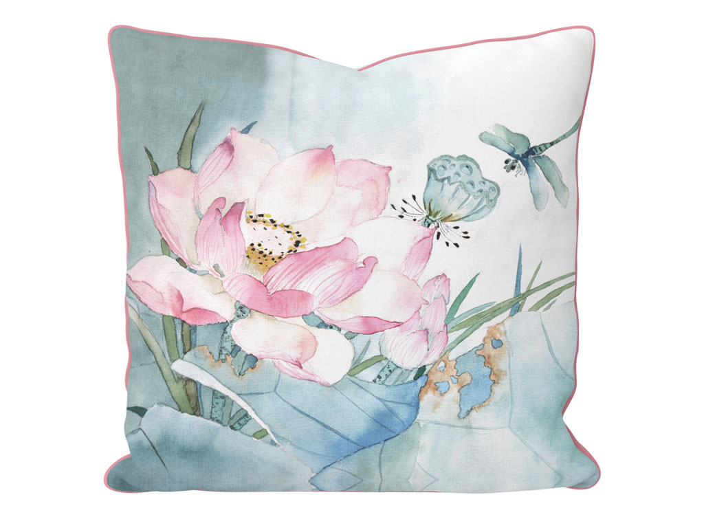 Lotus Blossom Çift Taraflı Kırlent 45x45 Cm Seledon