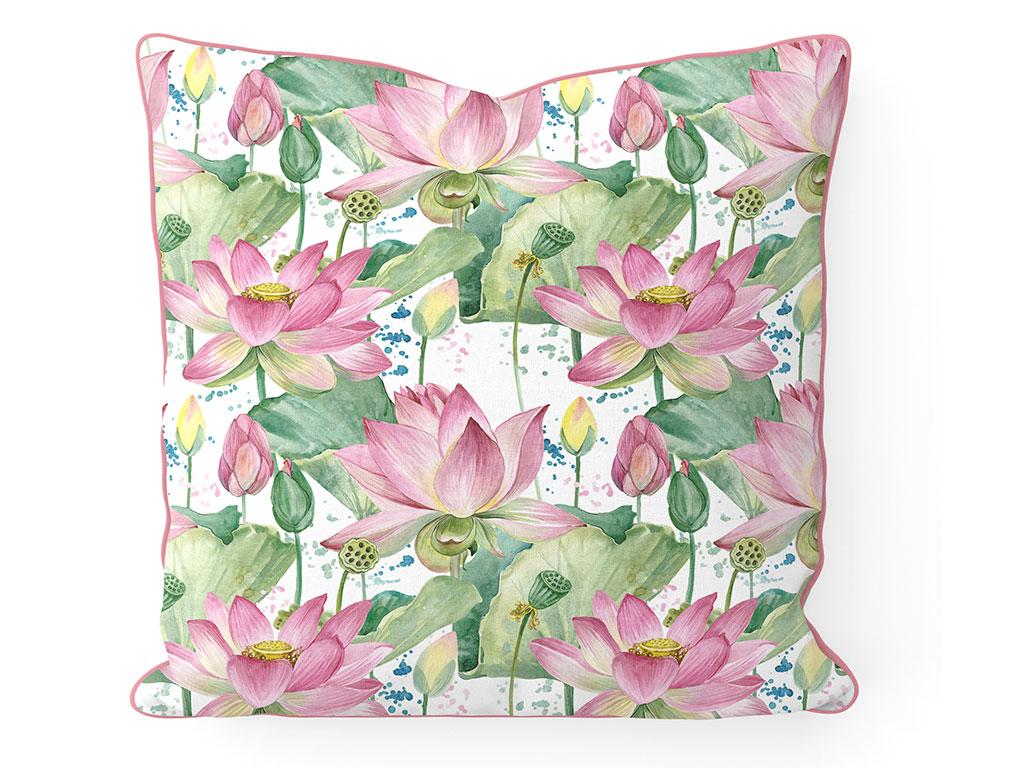 Lotus Garden Çift Taraflı Kırlent 45x45 Cm Yeşil