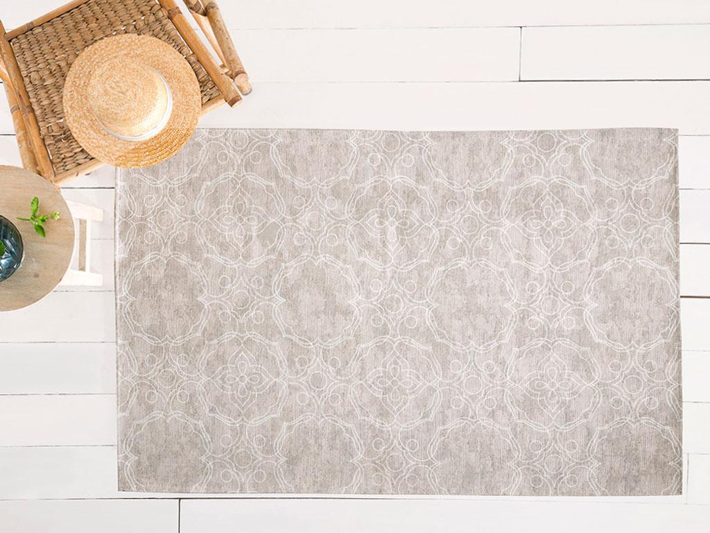 Big Damask Pamuk Polyester Halı 120x180 Cm Açık Bej