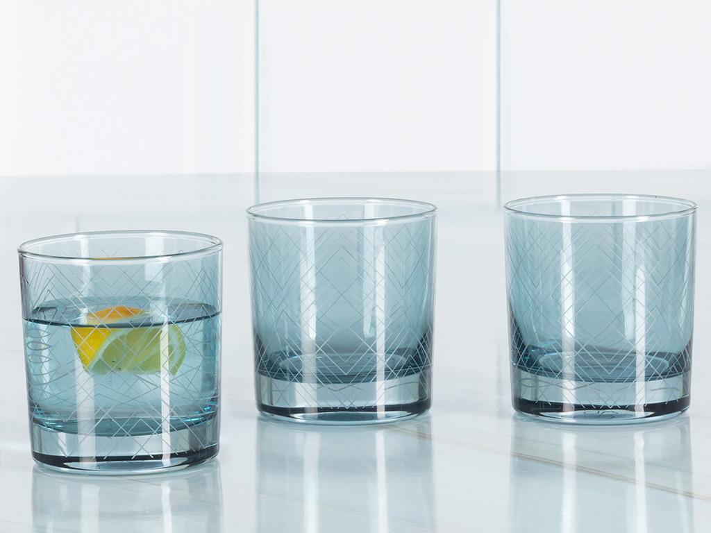 Vanity Cam 3'lü Meşrubat Bardağı 300 Ml Mavi