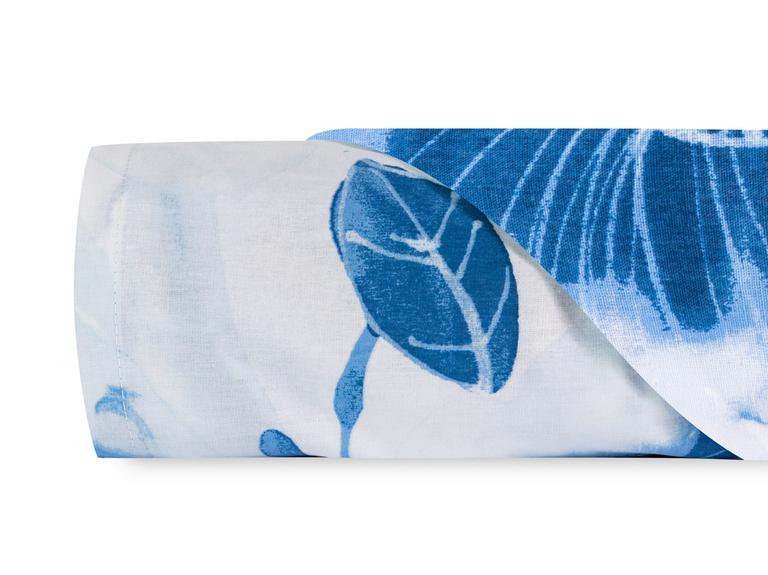 Water Roses Pamuklu Tek Kişilik Çarşaf 160x240 Cm Mavi