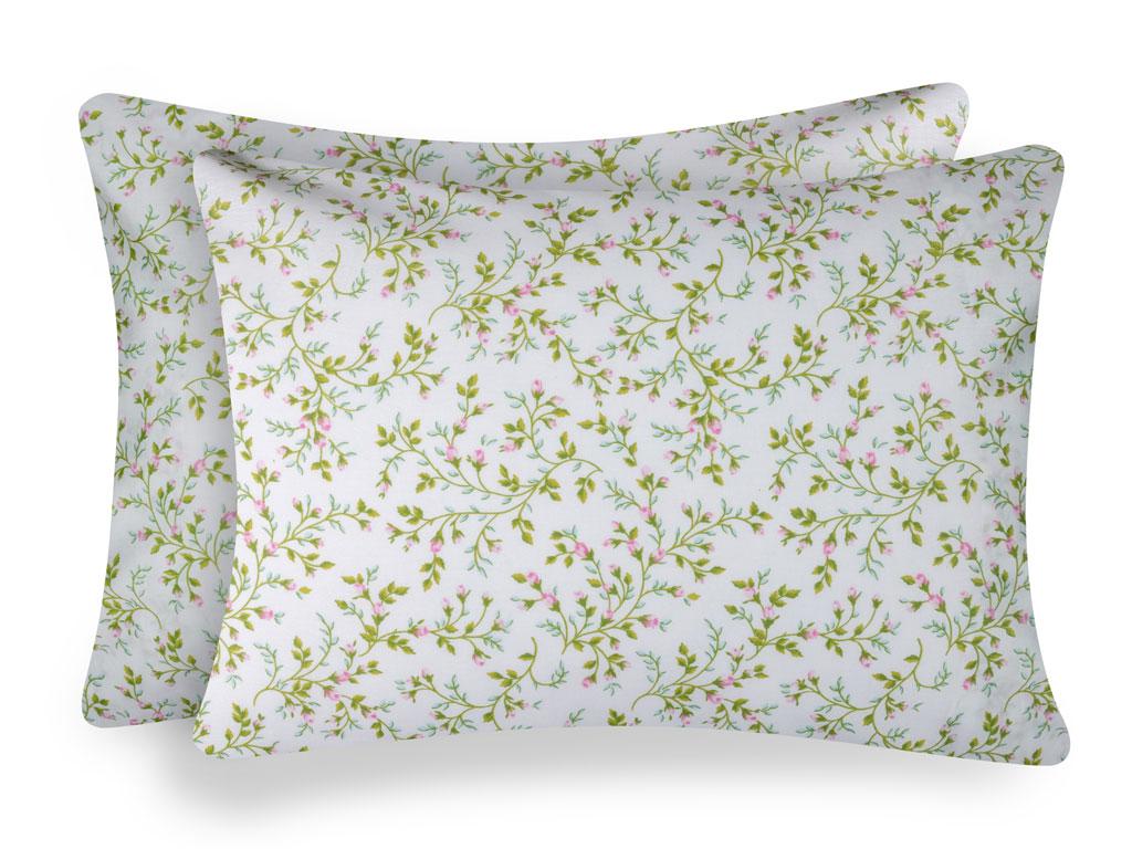 Rosebella Pamuklu 2'li Yastık Kılıfı 50x70 Cm Yeşil
