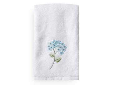 Wild Hortensia Nakışlı El Havlusu 30x45 Cm Beyaz - Mavi