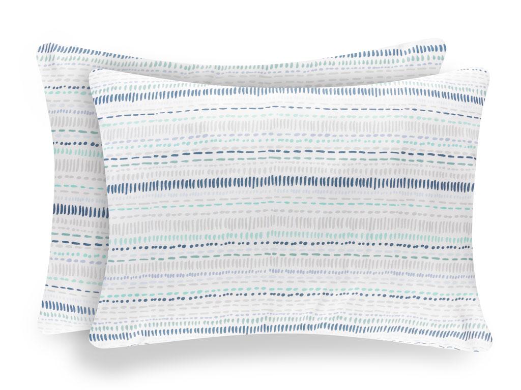 Big dots pamuklu 2'li çocuk yastık kılıfı 50x70 cm mavi