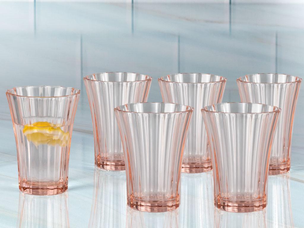 Dessa Cam 6'lı Kahve Yanı Su Bardağı 110 Ml Pembe
