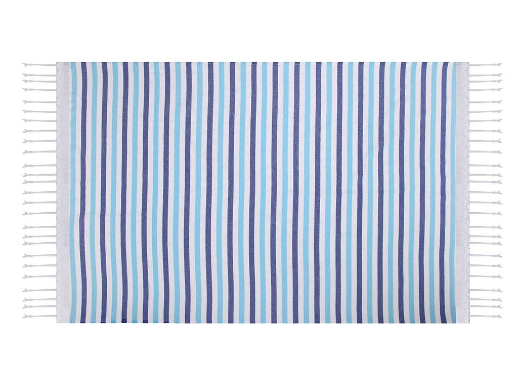 Ocean Stripe Pamuklu Peştamal 100x170 Cm Turkuaz - Royal
