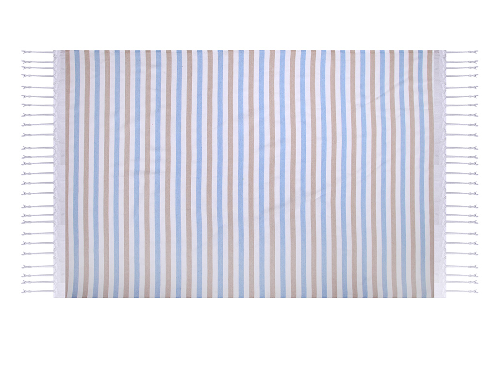Ocean Stripe Pamuklu Peştamal 100x170 Cm Bej - Pembe