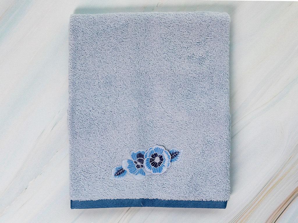 Water Roses Nakışlı Yüz Havlusu 50x80 Cm Mavi