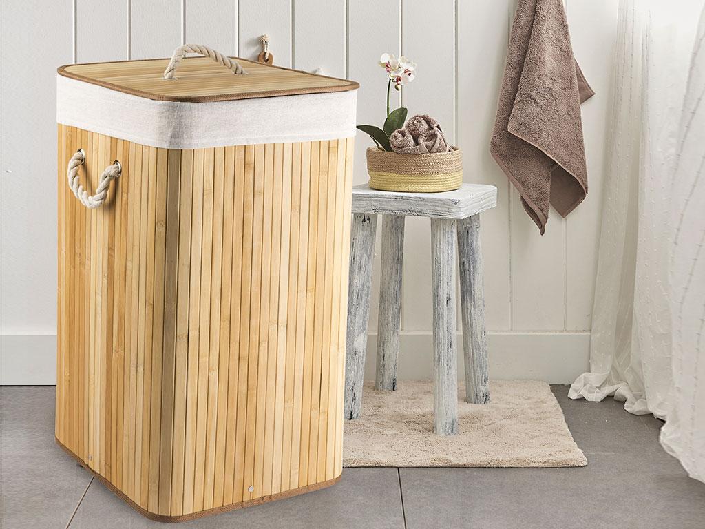Fancy Katlanabilir Çamaşır Sepetı 35x35x60 Cm Bej