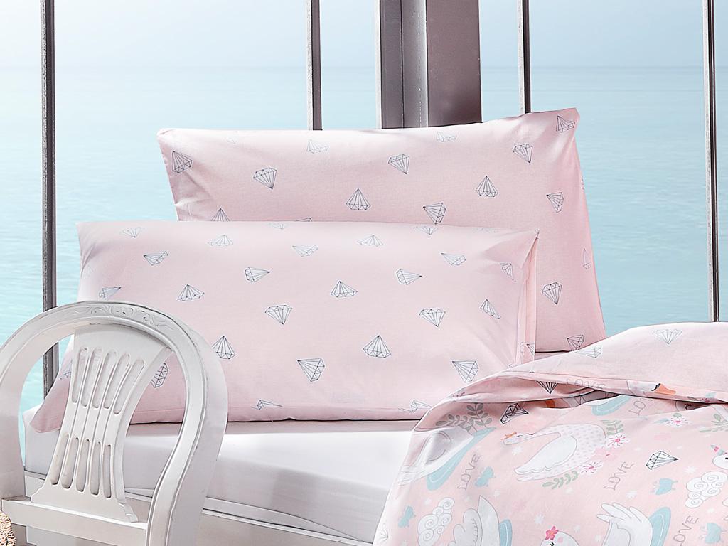 Lovely Swans Pamuklu 2'li Çocuk Yastık Kılıfı 50x70 Cm Pembe