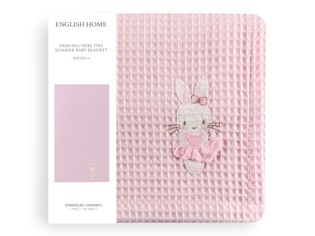 Sweet Rabbit Pamuklu Nakış - Kroşeta Bebe Pıke 80x120 Cm Pembe