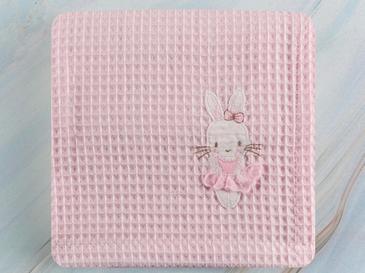 Sweet Rabbit Pamuklu Nakış - Kroşeta Bebe Pike 80x120 Cm Pembe