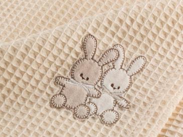 Twin Rabbits Pamuklu Nakış - Kroşeta Bebek Pike 80x120 Cm Bej