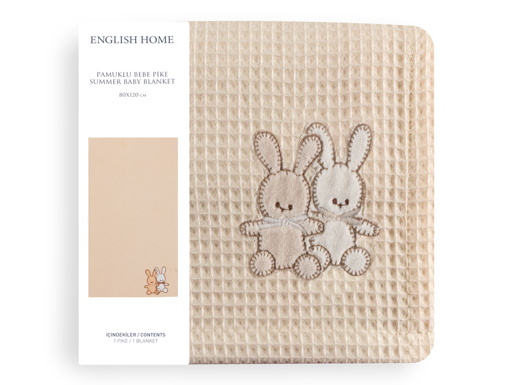 Twin Rabbits Pamuklu Nakış - Kroşeta Bebe Pıke 80x120 Cm Bej