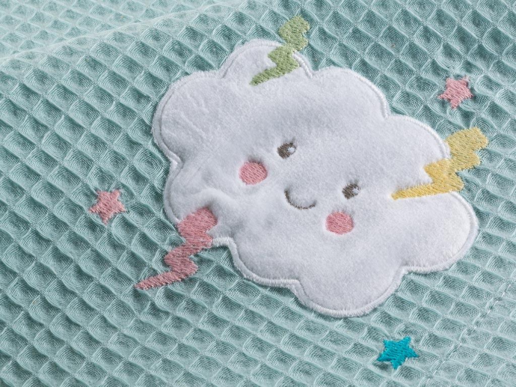 Little Cloud Pamuklu Nakış - Kroşeta Bebe Pıke 80x120 Cm Seledon
