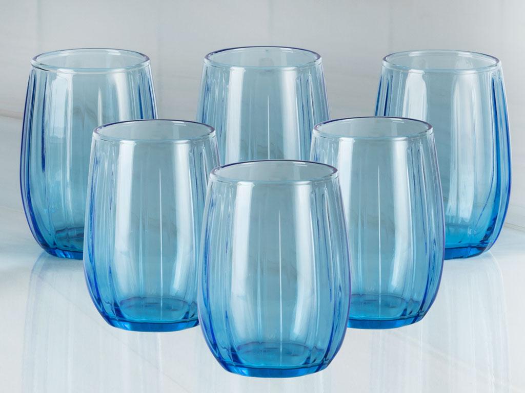 Lucia Cam 6'lı Kahve Yanı Su Bardağı 115 Ml Mavi