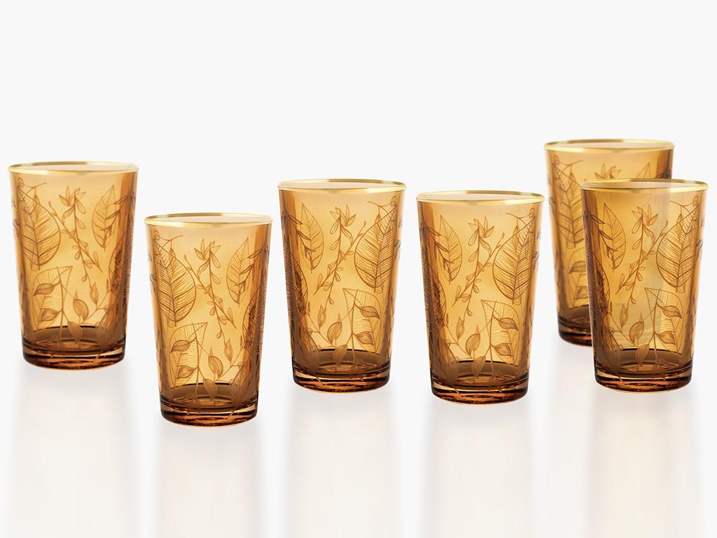 Leaf Cam 6'lı Kahve Yanı Su Bardağı 100 Ml Amber