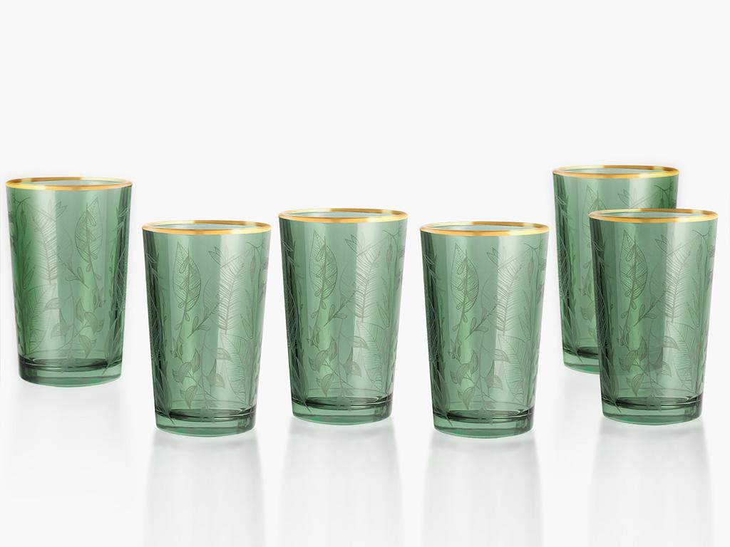 Leaf Cam 6'lı Kahve Yanı Su Bardağı 100 Ml Yeşil