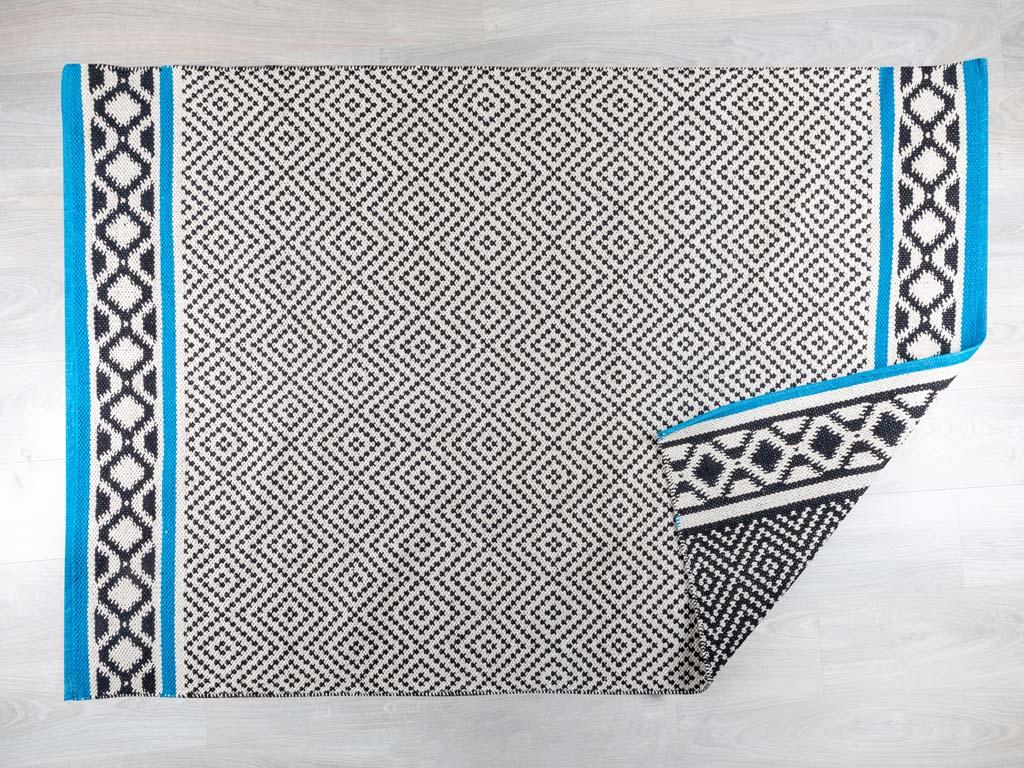 Belmont Pamuklu Halı 120x180 Cm Siyah-mavi