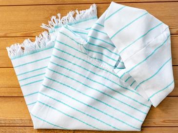Summer Stripe Peştamal Çocuk Panço 7-8 Yaş Mavi