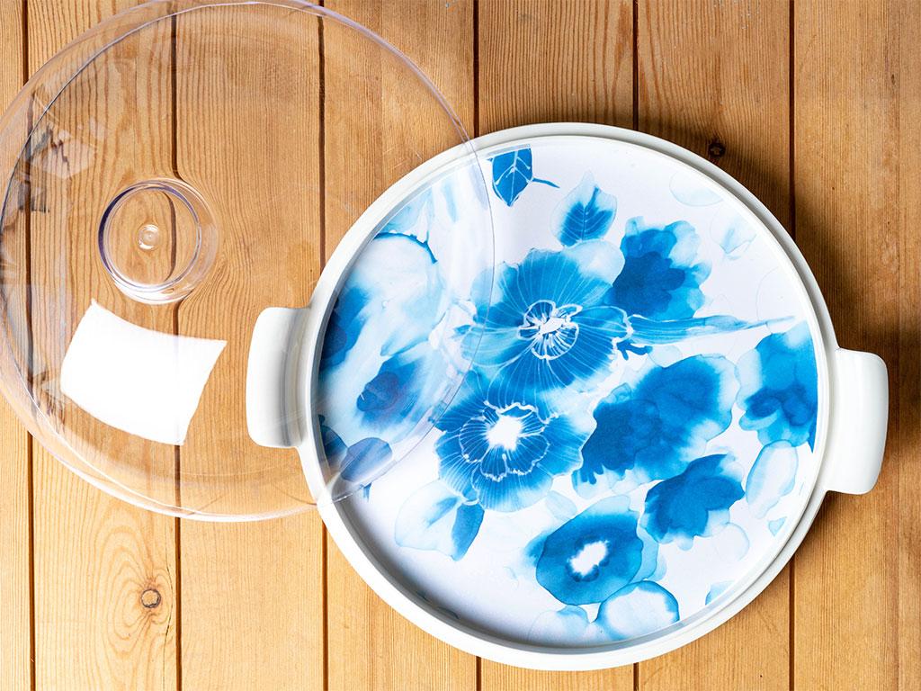 Big Roses Melamin Kapaklı Yuvarlak Kek Fanus 24 Cm Mavi