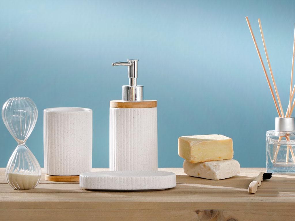 Simplicity Dolomite Banyo Setı 7,5x7x13,5 Cm Beyaz