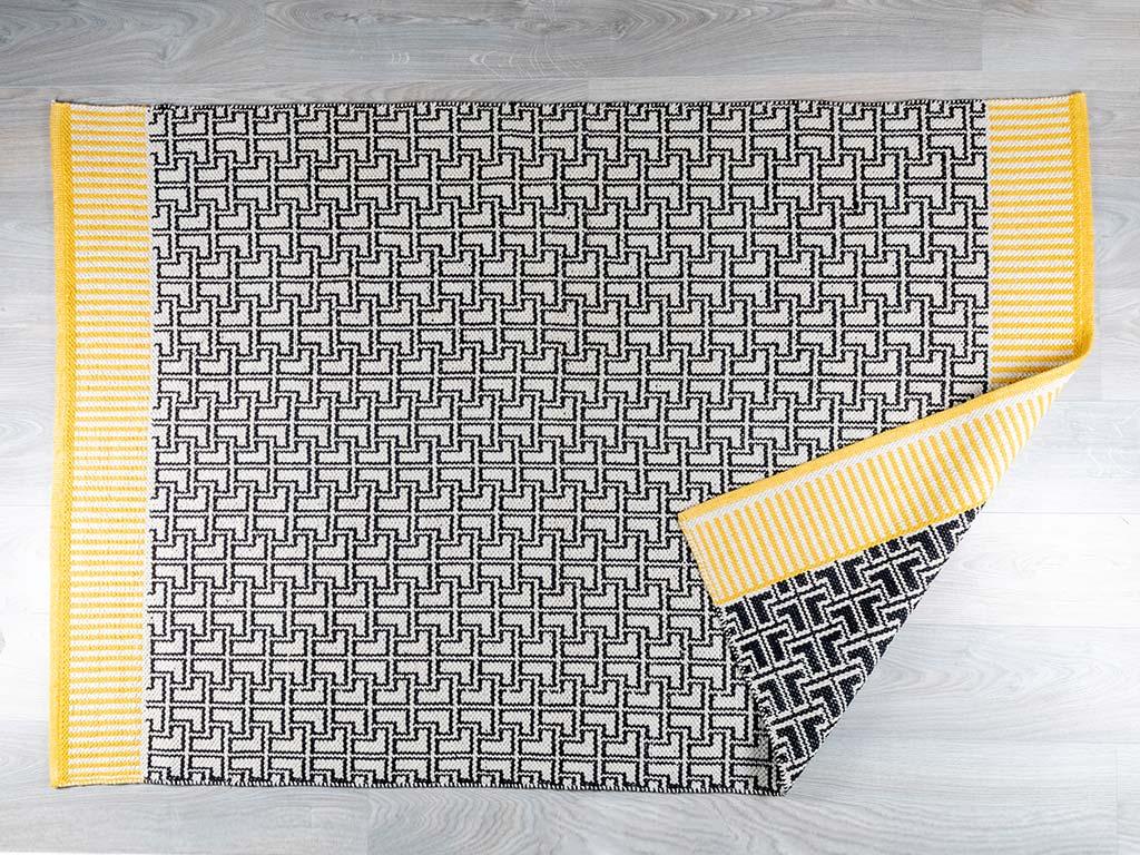 Aden Pamuklu Halı 120x180 Cm Siyah-bej